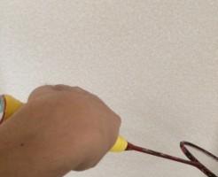 バドミントン教室リストスタンド・持ち替え・反応は壁打ちで